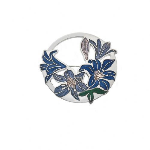 Blue Lilies Brooch Silver Plated Brand New Gift Packaging